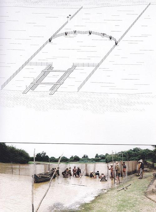 Technique de capture de poissons le long du fleuve Mekong