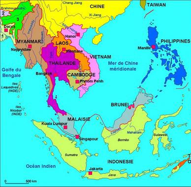 Carte d'Asie dus Sud-est