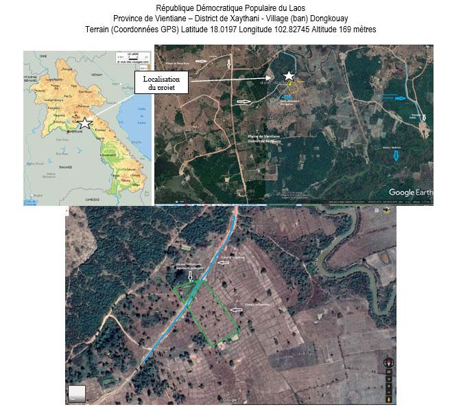 Localisation du projet province de Vientiane village de Dongkouay (Laos)