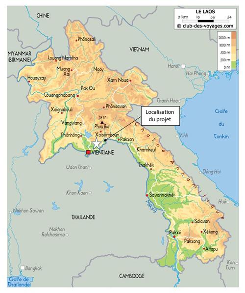 Localisation de l'étude hydrogéologique au Laos